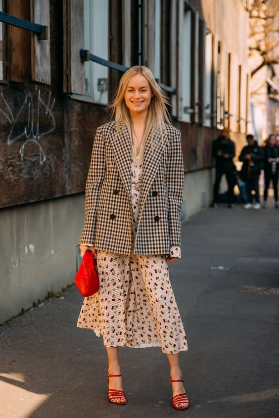 a neutral printed midi dress, an oversized plaid blazer, red strappy shoes and a red bag for a summer to fall look