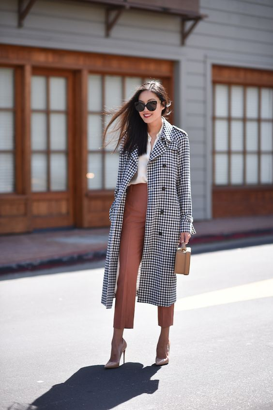 a white shirt, dusty pink cropped trousers, blush heels, a plaid midi coat and a tan mini bag for a chic look