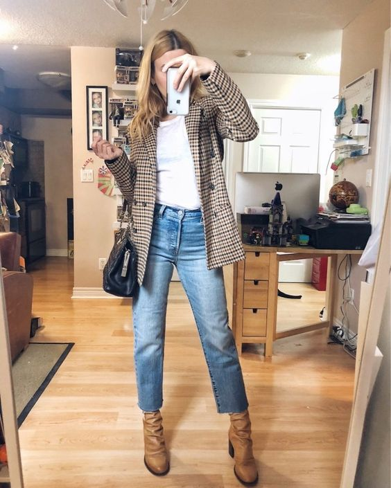 a white t-shirt, a plaid blazer, blue slim leg jeans, tan boots and a black bag are a great look