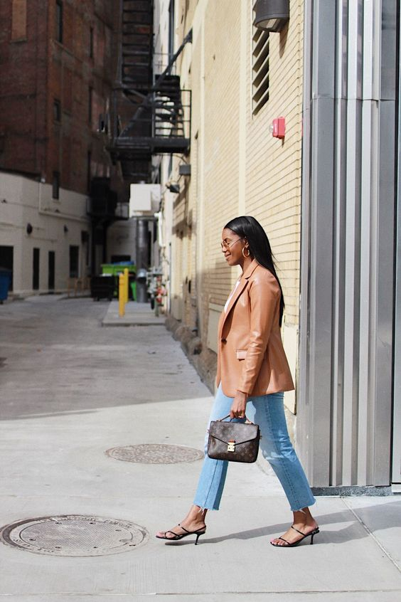 a white t-shirt, blue jeans, black heels, an amber leather blazer and a brown printed bag for the fall