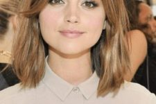 cool medium length brown hair with honey touches and curtain bangs is a gorgeous idea to look chic and cute