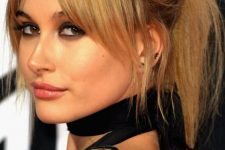 honey blonde hair – a ponytail with a bump and curtain bangs is a gorgeous idea to look cute, soft and chic