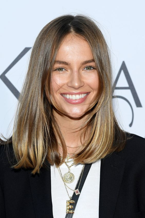 lovely medium length chestnut hair with blonde ends and with long curtain bangs is a gorgeous idea for a any type of hair