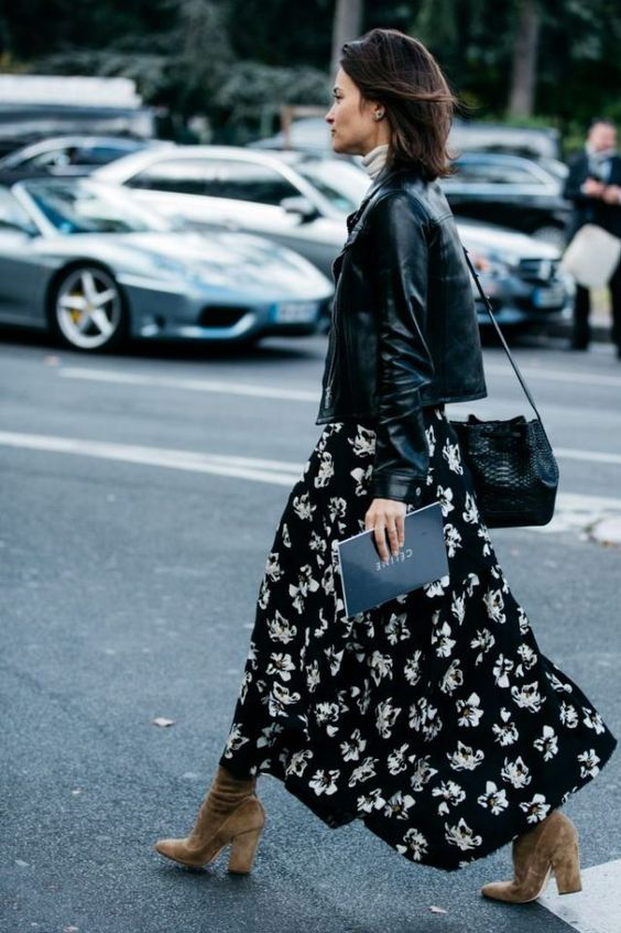 a black floral midi dress, a white turleneck, a black leather jacket, a black bag and tan suede sock boots