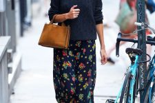 03 a black floral midi skirt, a black jumper, black sneakers, a rust-colored suede bag for every day