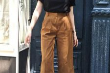 03 a black t-shirt, brown culottes, two tone heels compose a simple and cool look for a date on a warm fall day