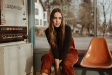 04 a black turtleneck, burgundy corduroy pants, brown boots are great for a cozy and comfy date look
