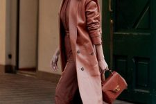 a fantastic caramel chocolate look with a shirt, leather pants, strappy shoes, a leather coat and a bag