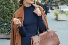 05 a fitting navy midi dress, statement earrings, a brown coat and a matching bag for a super elegant fall look