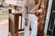 06 a casual neutral outfit with a tan sweater, white jeans, neutral slipper mules is a cozy and comfy idea