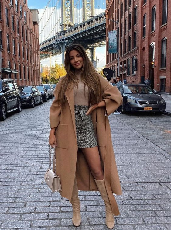 a girlish look with a tan turtleneck, a grey plaid mini skirt, tan boots, a beige midi coat and a creamy bag