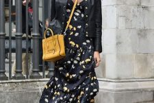 07 a sheer turtleneck, a black floral midi dress, black combat boots, a leather blazer and a yellow bag for a cool fall outfit