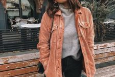 08 a grey turtleneck, black jeans, an orange corduroy jacket, a black bag, statement earrings for the fall