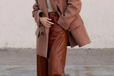 08 a light grey jumper, chocolate brown wide leg trousers, a burgundy plaid oversized blazer and white shoes