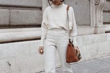 10 a white jumper, white high waisted jeans, snakeskin shoes and a brown bag for a lovely fall outfit