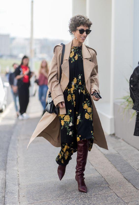 a cozy fall look with an asymmetrical skirt