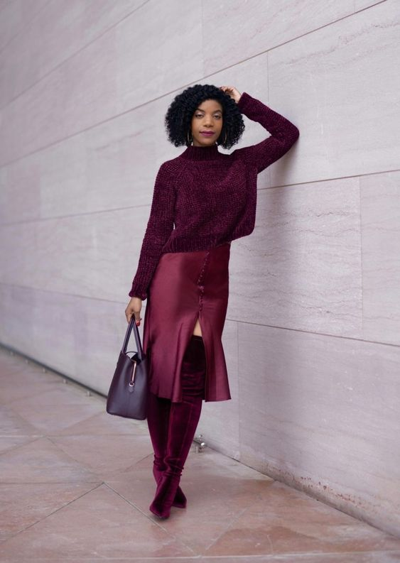 a monochromatic burgundy look with a turtleneck sweater, a slip midi skirt, over the knee boots and a bag