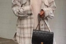 14 a white chunky sweater, a plaid mini, a plaid neutral shirt jacket and a black bag for a cold day in the fall