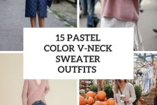 15 Looks With Pastel Color V-Neck Sweaters