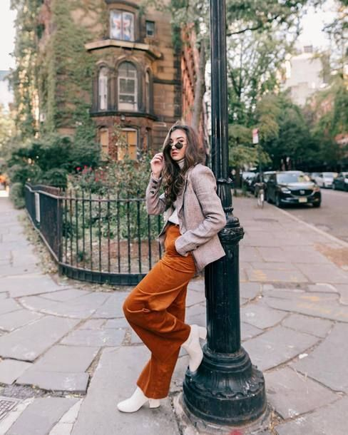 a white turtleneck, a grey blazer, rust corduroy pants, white boots for a lovely fall work look