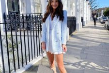 17 a girlish look with a white mini dress, a blue tweed blazer, nude slouchy boots and a neutral bag can be worn both to work and to a date