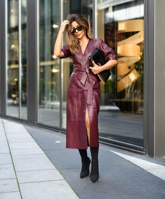 a sexy fall outfit in a leather dress