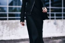 19 a classy fall total black look with a slip midi dress, a leather jacket, boots and a bag is a timeless idea