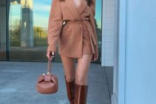 20 a feminine fall outfit with a blazer mini dress, chocolate brown knee high boots and a small brown bag