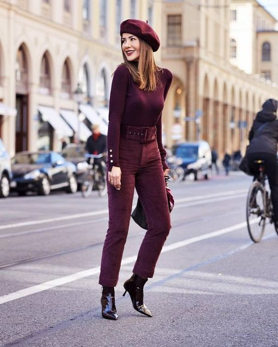 a Parisian inspired monochromatic fall outfit with a turtleneck, high waisted pants, lacquer boots and a beret