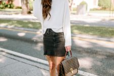 24 a white jumper, a black denim mini, white booties, a brown printed bag and a brown hat are great for the fall
