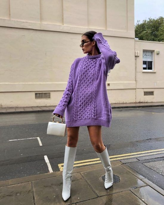 a purple mini sweater dress, white knee boots and a white bag for a fall or winter day