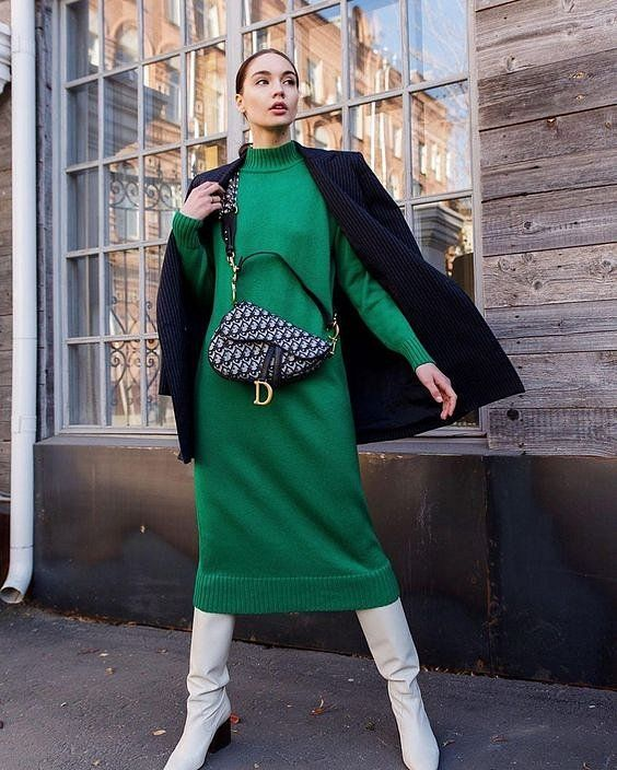 a beautiful emerald sweater midi dress, a navy corduroy coast, white boots and a printed mini bag