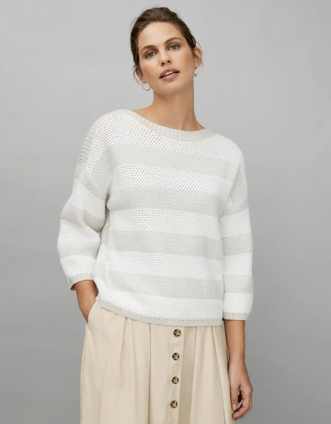 With beige button front skirt