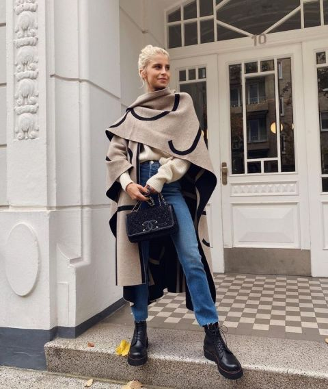 With beige sweater, oversized scarf, chain strap bag and cropped jeans