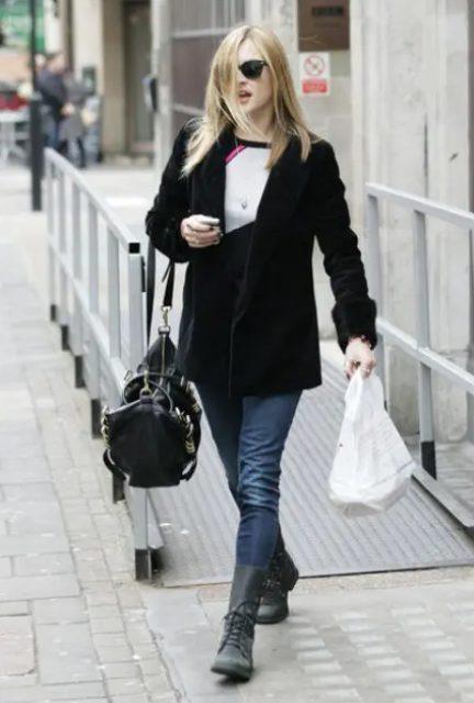 With black and white shirt, skinny jeans, black velvet blazer and black tote bag