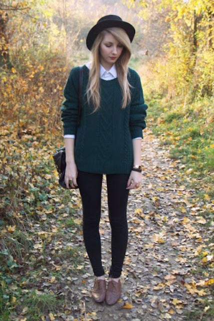 With black hat, black bag, black leggings and brown lace up flat shoes