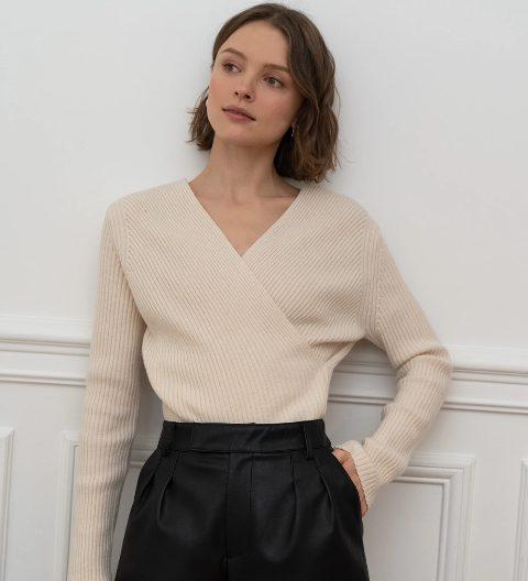With black high-waisted skirt