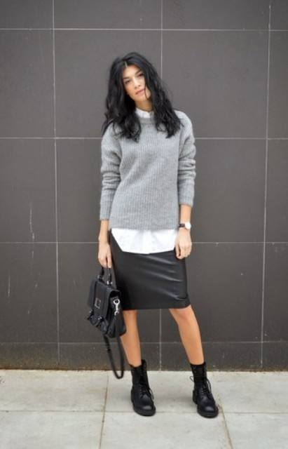 With black leather pencil skirt, black bag and black lace up flat boots