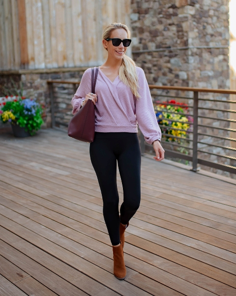 With black leggings, marsala leather tote bag and brown suede ankle boots
