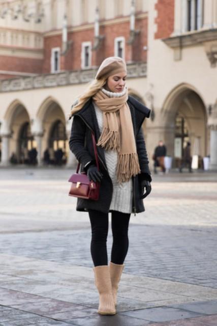 With black leggings, white sweater dress, beige scarf, beige beret, black puffer jacket and marsala bag