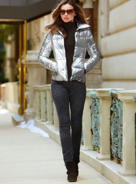 With black turtleneck, printed pants and boots