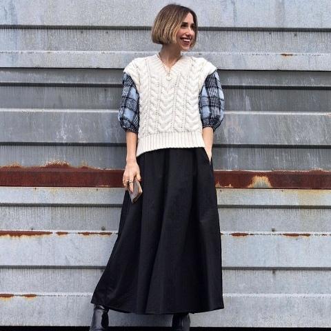 With checked shirt and black midi skirt