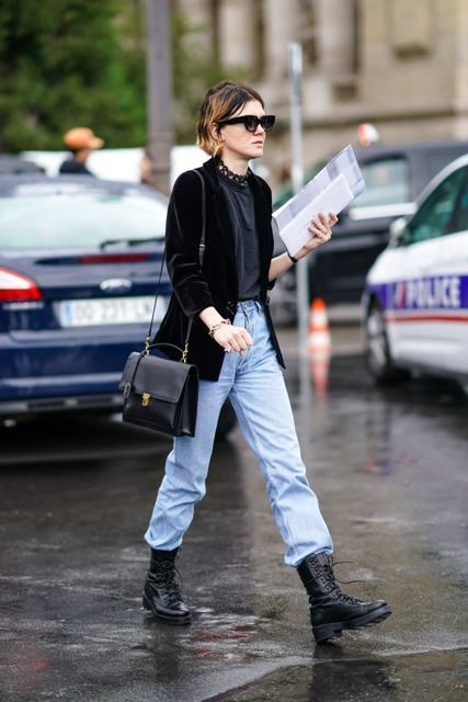 With dark gray t-shirt, black velvet blazer, black bag and loose jeans