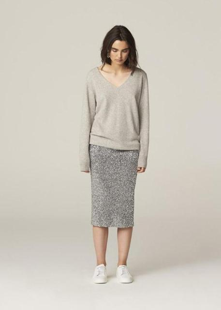 With gray pencil midi skirt and white sneakers