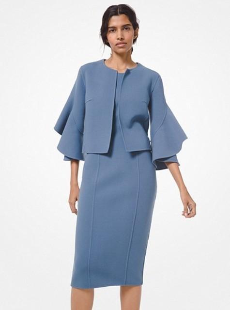 With light blue midi dress