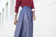 With lilac leather A-line midi skirt and black ankle strap high heels