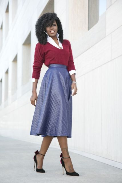 With lilac leather A line midi skirt and black ankle strap high heels
