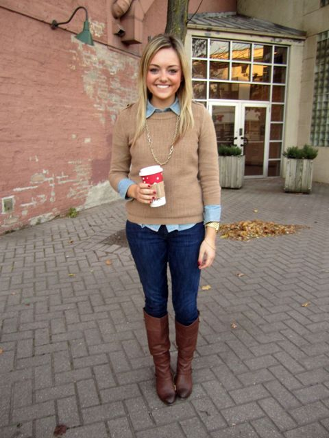 With navy blue skinny jeans, golden necklace and brown leather high boots