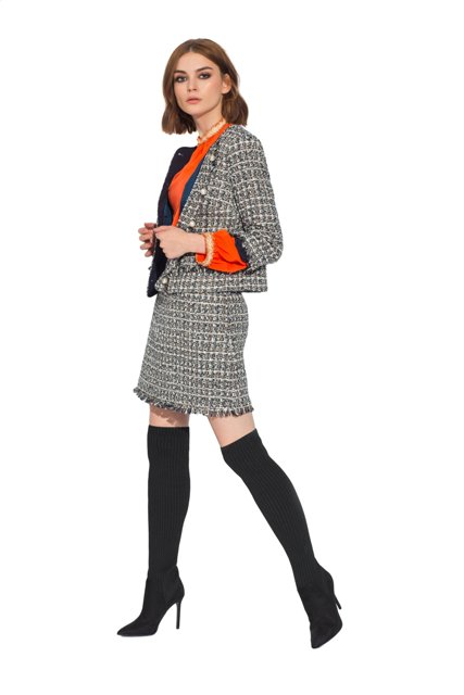 With red and golden blouse, printed tweed mini skirt and black over the knee boots