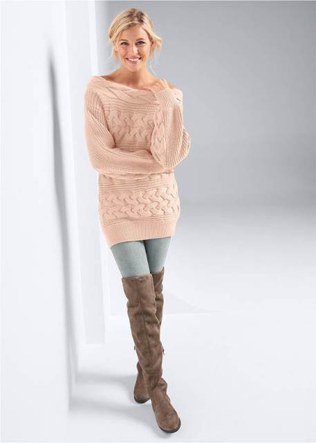 With skinny jeans and brown suede over the knee boots